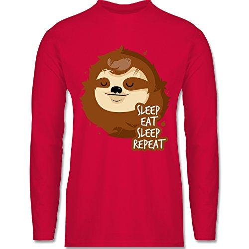 Shirtracer Comic Shirts - Sleep, Eat, Sleep, Repeat - Faultier - Herren Langarmshirt Rot