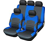Citroen Nemo Multispace 09–12 Luxus Full Leder Optik schwarz & blau Sport Sitzbezug-Set