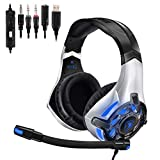 SADES SA822T Stereo Gaming Headset für PS4 Xbox One PC Controller Kopfhörer mit Mikrofon, LED Light 3.5mm On Ear Surround Ohrhörer und Lautstärkeregelung für PS4 Xbox One PC Laptop Phones Nintendo