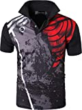 jeansian Herren Summer Sportswear Wicking Breathable Short Sleeve Quick Dry Polo T-Shirts Wicking Breathable Running Training Sports Tee Tops LSL252 Black M
