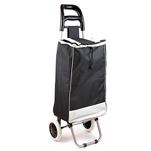 Trolley per la spesa pieghevole con cordino e grandi ruote stabile e pieghevole colore nero