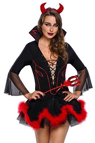 R-Dessous Damen Teufel Kostüm 3 teilig Teufelin Kleid Davil Horror Halloween Karneval Fasching Verkleidung Groesse: - Teufel Kostüm Frauen Halloween