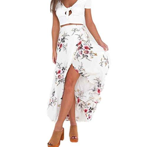 FEITONG Mujer Falda Asimétrica Cintura alta Delgado Fiesta Falda de impresión (Blanco, M)