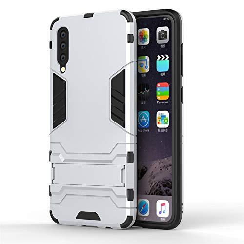Samsung Galaxy A50 SM-A505 Hülle, CHcase Hybrid 2in1 TPU+PC Schutzhülle Rugged Armor Case Cover Dual Layer Bumper Backcover mit Ständer für Samsung Galaxy A50 SM-A505 -Silver -