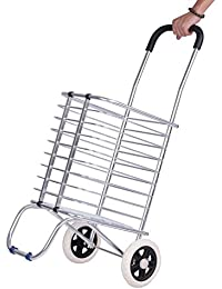 Glive's Portable Aluminum Folding Shopping Cart Trolley With Wheel Deluxe Utility Cart