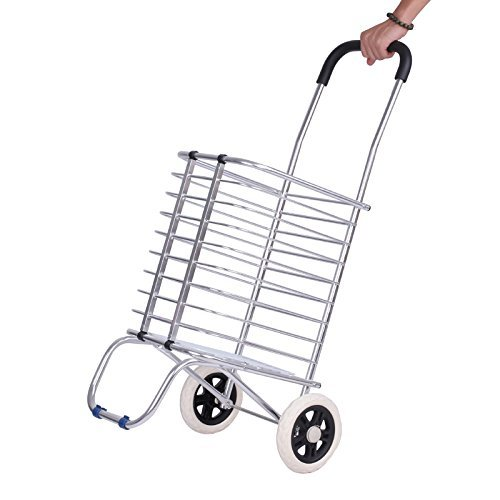 Portable Grocery Shopping Basket Aluminum Folding Trolley Cart