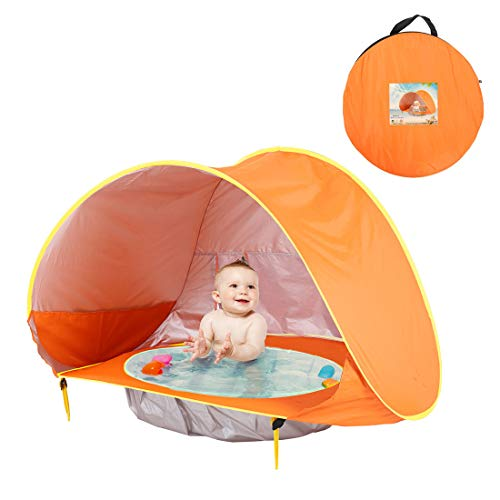 METTE Children es Beach Pool Zelt, Pop-up Beach & Outdoor Baby Tent, Protective & Portable Sun Shelter, Provides Baby Shade Pool for Your Toddler, Infant & Kid, Angebote SPF, UV, 50 + UPF,Orange