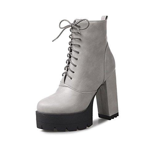 AgooLar Damen Niedriger Absatz Weiches Material Rein Schnüren Stiefel mit Metallisch, Grau, 39