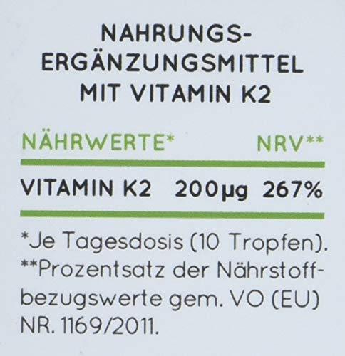 NATURE LOVE® Vitamin K2 MK-7-200µg, 1700 Tropfen, 50ml. Höchster All-Trans Gehalt 99,7{e9dc69bbc4f8820ad3f189199ea2c6539242a248cd4d4aef75bb9378052b5cd4} und natürlich fermentiert. Premium: Gnosis VitaMK7. Flüssig, vegan, hergestellt in Deutschland