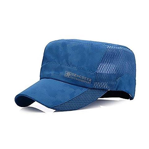 Unisex Flat Roof Military Hat Fashion Summer Outdoor Sport Baseball Cap (Blue)