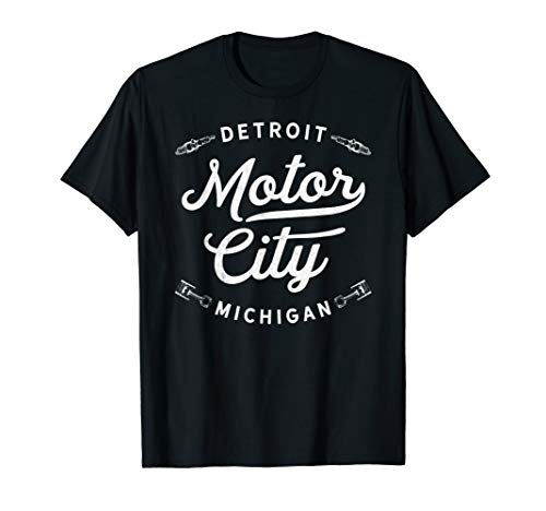 Classic Detroit Motor City Michigan Auto Enthusiast Novelty T-Shirt -