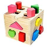 Steekdobbelstenen van hout, speelgoed-dobbelsteen, steekdoos voor baby & peuters; houten speelgoed traint motoriek, leerspeelgoed ter bevordering van de concentratie van vormmerk.