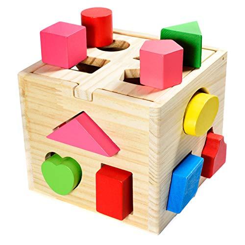 Steckwürfel aus Holz Spielzeug-Würfel-Puzzle Steckbox für Baby & Kleinkind; Holzspielzeug trainiert Motorik, Lernspielzeug zur Förderung von Formerkennung und Konzentration