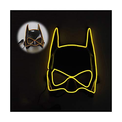 YOIO LED-Maske EL Kaltlichtglühlinie Fledermaus Halbe Gesichtsmaske, gelb