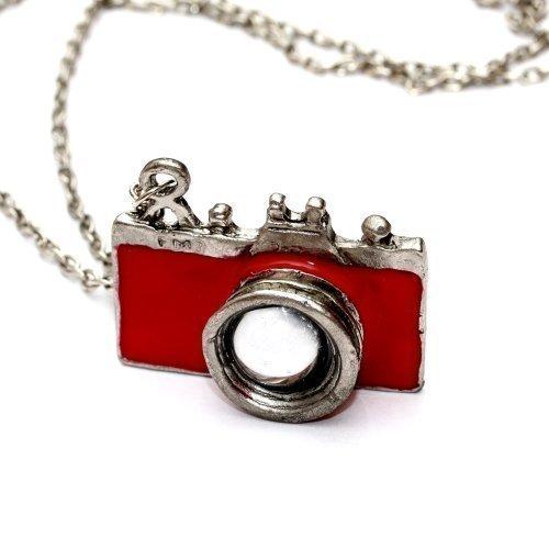 Preisvergleich Produktbild Kamera Halskette mit Fotoapparat - ca. 70cm lange Kette - Spiegelreflex Anhänger rot DSLR