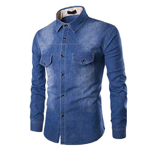 Zhiyuanan uomo camicia del denim casuale taglia larga camicia a maniche lunghe jean giacca di moda selvaggia giubbotto di jeans blu marino 3xl