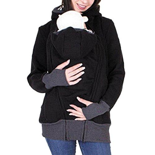 SICHYUAN Damen Tragejacke für Mama und Baby 3in1 Känguru Sweatshirt Jacke ,Mutterschaft Kapuzen Multifunktions Reißverschluss Baby Wearing Umstandsjacke. (Mutterschaft-jacke)
