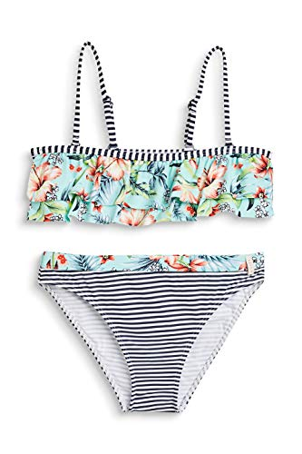 ESPRIT Mädchen South Beach YG Bandeau + Brief Badebekleidungsset, Blau (Turquoise 470), (Herstellergröße: 164)