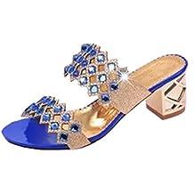 LuckyGirls Sandalias Mujer Verano Zapatos de Tacón 6cm Brillante Rhinestone Heuco Respirable Chancleta Moda Casual Chanclas Playa Vacaciones Zapatillas