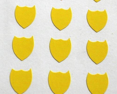 150 Etiquetas, 10x8mm Forma De Escudo, Amarillo, pegatinas autoadhesivas, Minilabel Formas