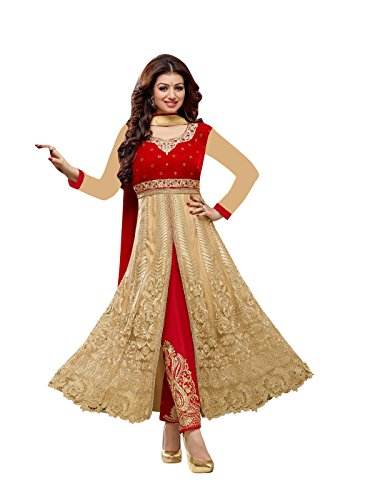 Ayesha Takia Red And Cream Anarkali Suit  available at amazon for Rs.1499