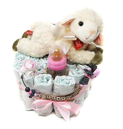 Elfenstall Windeltorte/Pamperstorte mit Spielzeug und Schnullertkette als tolles Geschenk/Geschenkset zur Geburt oder Taufe auf Wunsch mit Name des Babys (Schaf)