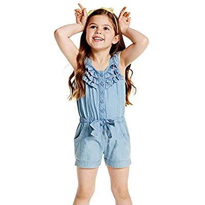 BOBORA Baby Kids Girls Ruffled Romper Denim Sleeveless Romper for 0-5 Years Old : everything £5 (or less!)
