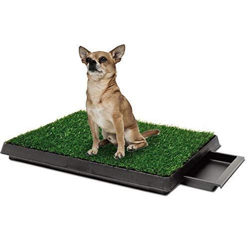 Lettiera da interni per cani e animali domestici, grande, con vassoio e tappetino in erba sintetica, per insegnare all'animale dove fare i bisogni