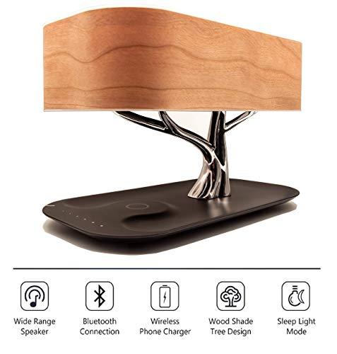 Zaigon Nachttischlampe mit Bluetooth-Lautsprecher - touch dimmbar - Nachttischleuchte mit Schlafmodus + Wireless Charger - Designer Tischlampe - LED - Tischlampe - Deko Schlafzimmer