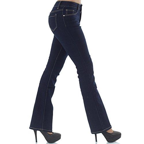 malucas Damen Bootcut Jeans Schlag Hose Hüfthose Schlaghose Hüftjeans Stretch Low Rise Blau