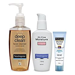 Neutrogena Combination Skin Combo (Deep Clean Facial Cleanser 200ml, Combination Skin Moisturiser 118ml, Ultra Sheer Dry-Touch Sunblock SPF 50+ 30ml)