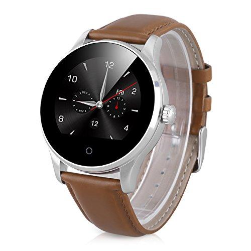 Excelvan K88H - Smartwatch Pulsera Inteligente para Móvil Android IOS (Ritmo Cardíaco, Monitor del Sueño, Podómetro Calorías, Recordatorio de la Llamada / SMS, Recordatorio Sedentario) (marrón)