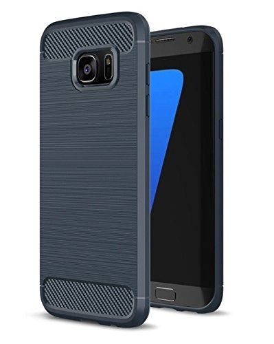 For Galaxy S7 – WOW Imagine Premium Shock Proof Carbon Fibre Brushed Texture Armour Series [ Air Cushion Anti Shock Technology ] Impact Resistant Slim Profile Flexible TPU Phone Back Case Cover For Samsung Galaxy S7 – Deep Blue