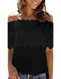 Legendaryman Verano Mujer Blusa Casual Cuello Barco Encaje Bandeau Splicing Remata Camisetas Moda Colores Lisos Delgado