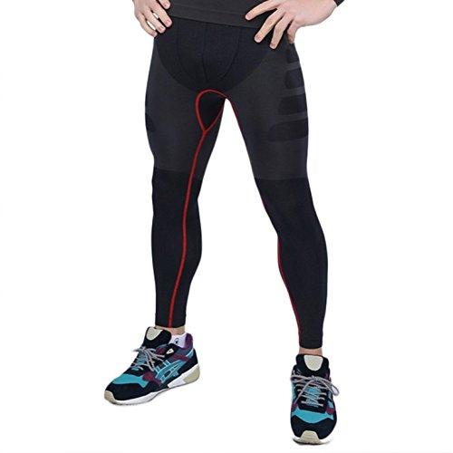 iisport Mallas de Compresión de Running Ciclismo Pantalones Largas Fitness Tirantes de Deporte Buena Sujeccion Comodidad Cómoda Elástica Absorbe el Sudor para Hombre Grís con Rojo Talla L