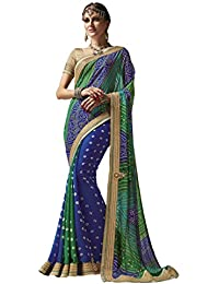 Crafts N Culture Blue & Green Colored Georgette Bandhani Printed Saree.