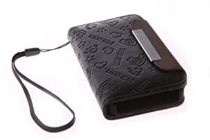 NEW STYLISH FLIP WALLET LEATHER CASE COVER POUCH FITS APPLE IPHONE 4 4 C3 (BLACK)