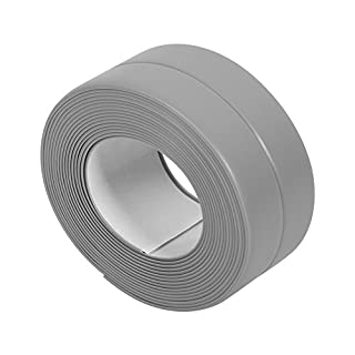 Sticky Wall Sealing Strip Grey Edge Corner Caulk Tape PVC Mildew Proof Seamless Wall Trimmer Protection Decoration Kitchen Sink Bathtub Shower Crack Cover, 38mm*3.2m