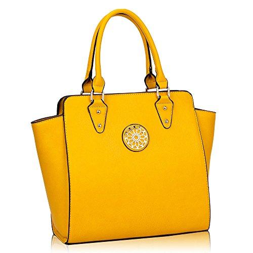 HB Style - Borsa sacchetto stile lusso Ragazza donna Yellow