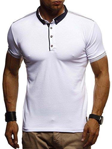 Kurzarm Vintage Poloshirt (LEIF NELSON Herren Sommer T-Shirt Polo Kragen Slim Fit Baumwolle-Anteil | Basic schwarzes Männer Poloshirts Longsleeve-Sweatshirt Kurzarm | Weißes Kurzarmshirts lang | LN1310 Weiss XX-Large)