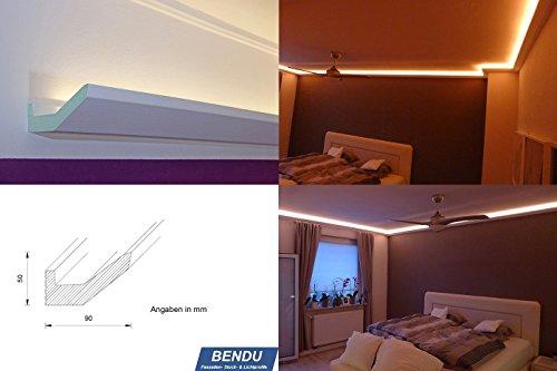 BENDU – Moderne Lichtvouten bzw. Stuckleisten für die indirekte LED Beleuchtung der Decke. Ideal für den Einsatz z.B. im Wohnzimmer, Schlafzimmer oder Bad. Kombinierbar mit einem LED Flexband / Stripe oder Lichtschlauch. Lichtleiste aus Hartschaum DBML-90-PR für die indirekte Deckenbeleuchtung – Qualität aus Österreich.