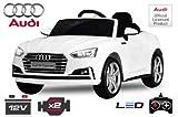 Voiture électrique pour enfant 12V AUDI S5Cabriolet roues en caoutchouc Siège en cuir ceinture de sécurité à 5points Télécommande Blanc