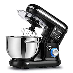 Alfawise Food Stand Mixer Dough Blender, 5.5 L Max 1090W Cake Mixer with Beater, Hook, Whisk (Black)