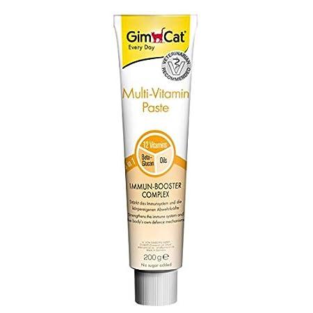 GimCat Multi-Vitamin Paste, Vitamin, und nährstoffreicher Katzensnack mit Immun,Booster Complex für ein starkes Immunsystem, Beta,Glucan und hochwertige Öle, 200g