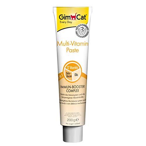 GimCat Multi-Vitamin Paste - Vitamin- und nährstoffreicher Katzensnack mit Immun-Booster Complex für ein starkes Immunsystem - Beta-Glucan und hochwertige Öle - 1 Tube (1 x 200 g) -