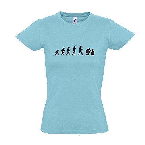 Damen T-Shirt - EVOLUTION - Computer Sport FUN KULT SHIRT S-XXL Atoll blue - schwarz