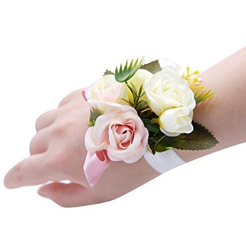 BEAUTOP Handgelenkblume für Kinder und Mädchen, für Hochzeit oder Party, Textil, Milk White Powder, Normal - Milk Bath Powder