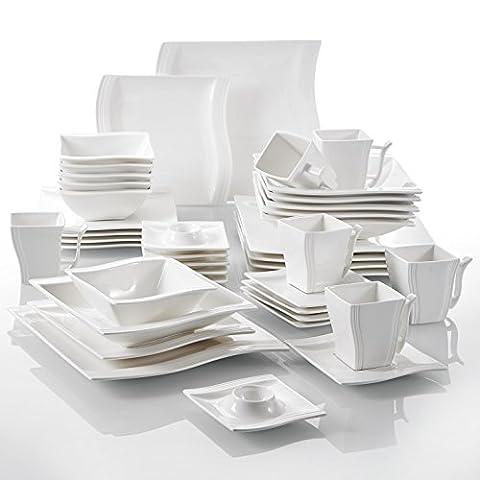 Malacasa Série Flora, 42pcs Service de Table Porcelaine Vaisselles, 6 Tasses, 6 Sous-tasses, 6 Assiettes à Dessert, 6 Assiettes à Soupe Creuses, 6 Assiettes Plates Plat, 6 Bols, 6 Coquetiers, Art de Table