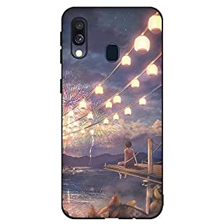 Aksuo for Samsung Galaxy A40 Case, Women Girls boy Men Printed Black Design Plastic Case with TPU Bumper Protective Cover,Watching Fireworks Alone