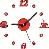NVRENJIE Stilvolle kühne Klassische Quarz große wanduhr tickt leise die wanduhr wohn - Ideen der modernen Schlafzimmer Quarz - Uhr, 20 - Zoll - Jumbo - schwarz, rot 60cm,EIN